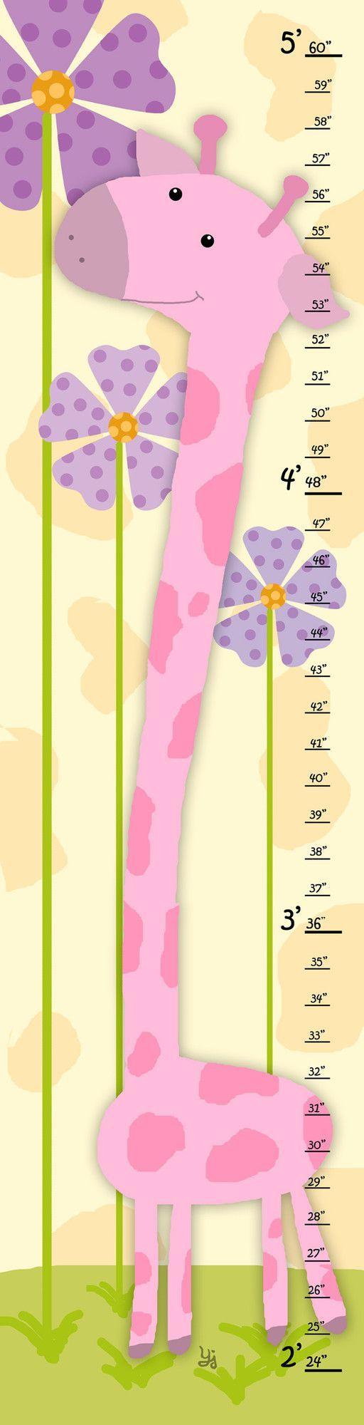 Pink Giraffe Growth Chart | KIDS ART | Pinterest | Pink giraffe ...