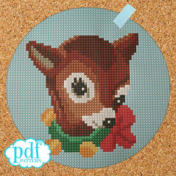 Vintage Christmas Bambi cross stitch needlepoint by cupcakecutie1