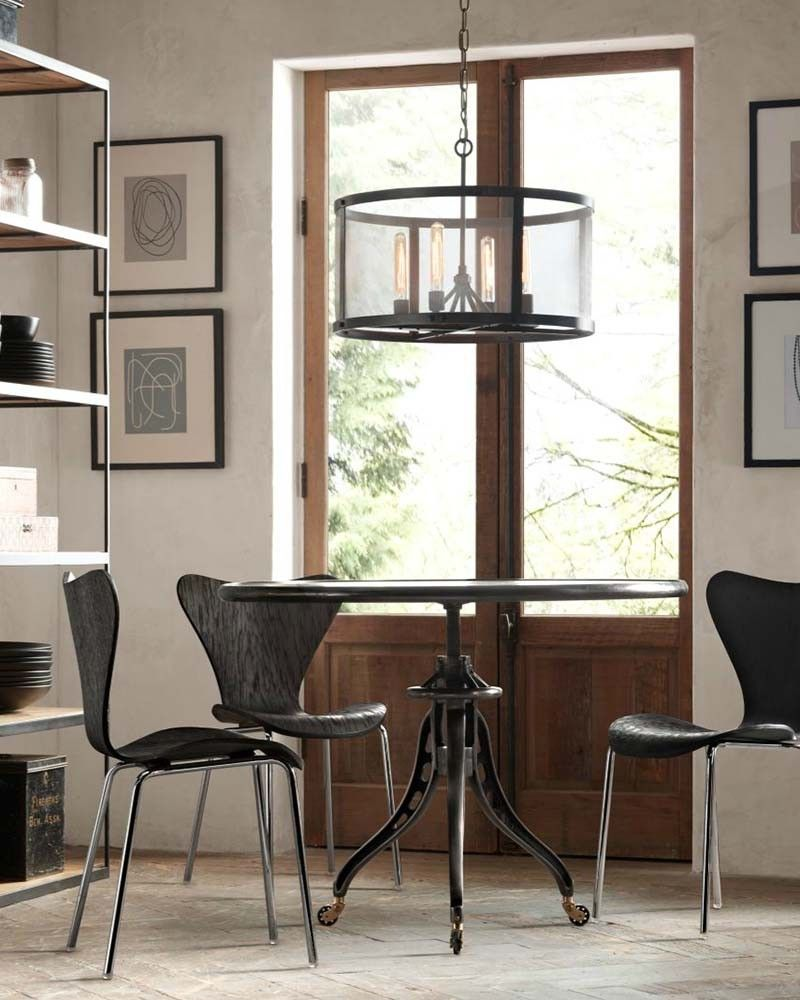 Industrial chic riveted mesh drum lights chandelier