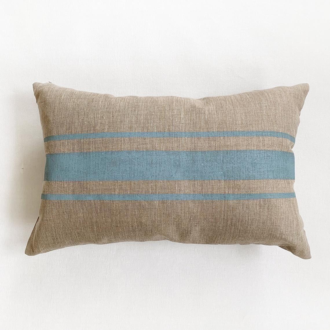 Blue Grain Sack Pillow Modern Farmhouse Pillow Covers Large Lumbar Pillow Grainsack Striped Pillows Linen Pillow Cover For Cottage Chic