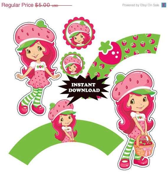 25 off SALE Digital Strawberry shortcake Printable Birthday