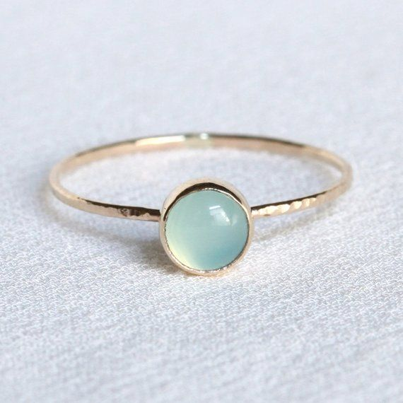 Photo of Solid Gold Aqua Chalcedony Ring | Simple Small Gold Chalcedony Stacking Ring | Hammered Gold Band | Delicate chalcedony ring