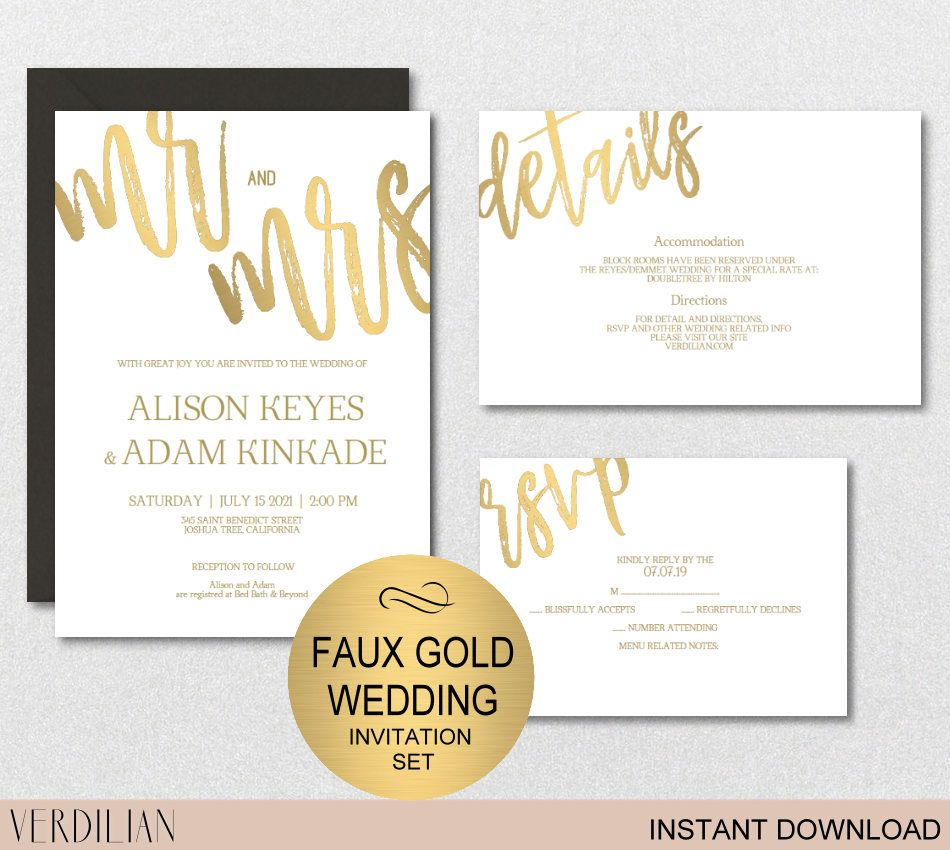Instant Download, EDIT YOURSELF and print ! Faux Gold Wedding ...