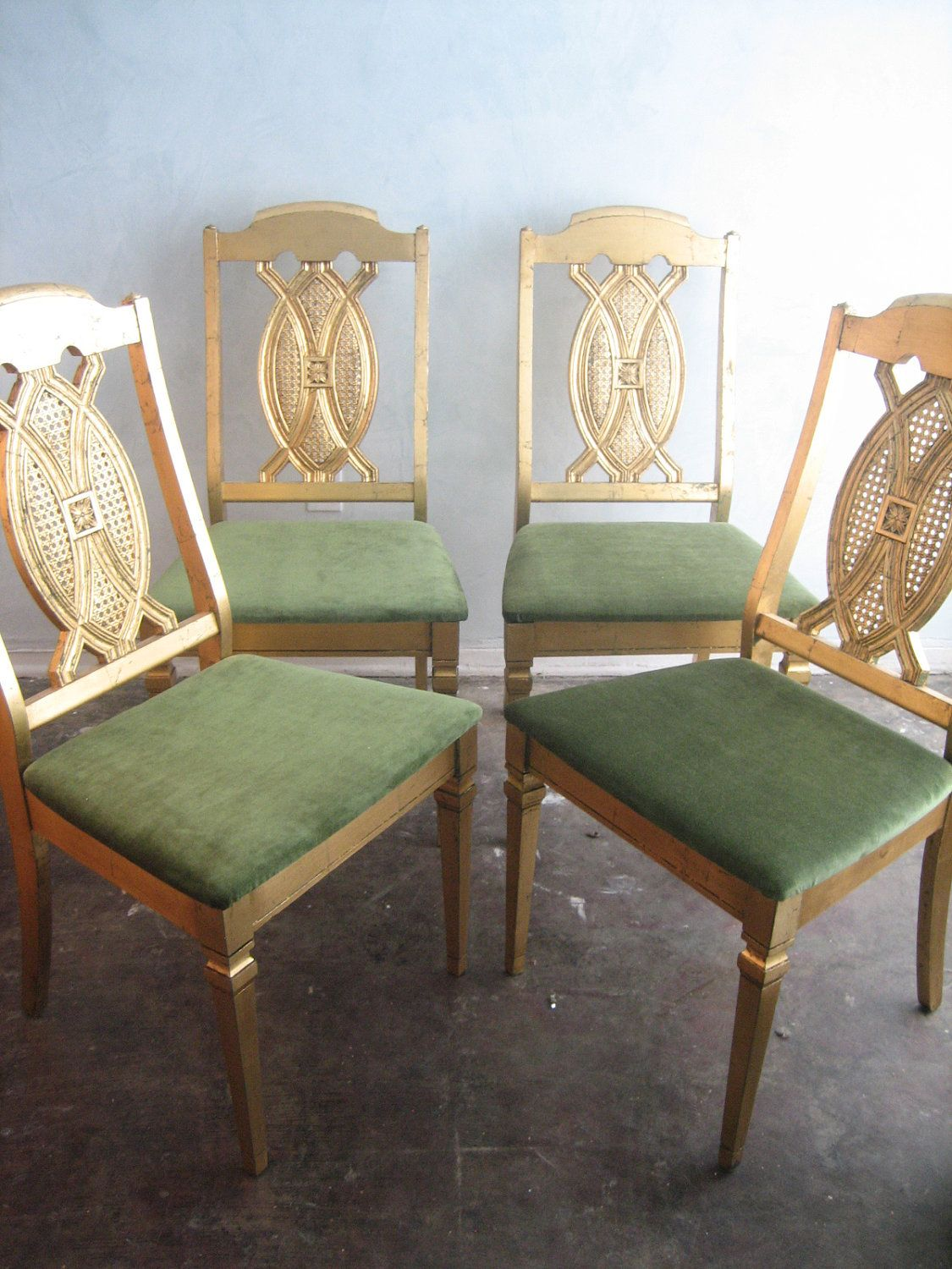 Gold Leaf Our Tulip Chairs, + Silk Kadife Seats. Set Of 4 Gold Leaf Retro  Cane Chairs.