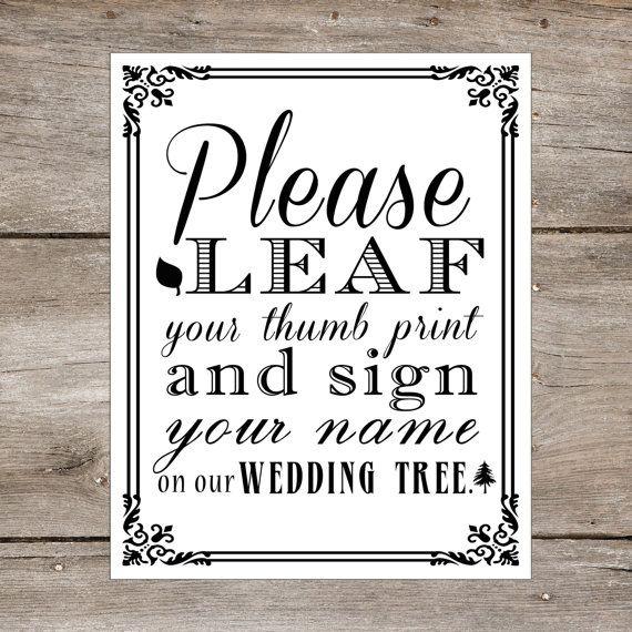 Thumbprint Tree Guest Sign: Wedding Tree Thumbprint Guest Book