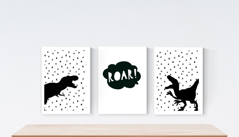 3 Personalised Modern Dinosaur Trex Raptor Prints Boy Nursery Wall Art Pictures