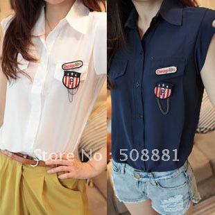 Verão 2012 mulheres da moda verão feminina topo moda de rua de manga curta de cor sólida colarinho verão camisa das mulheres