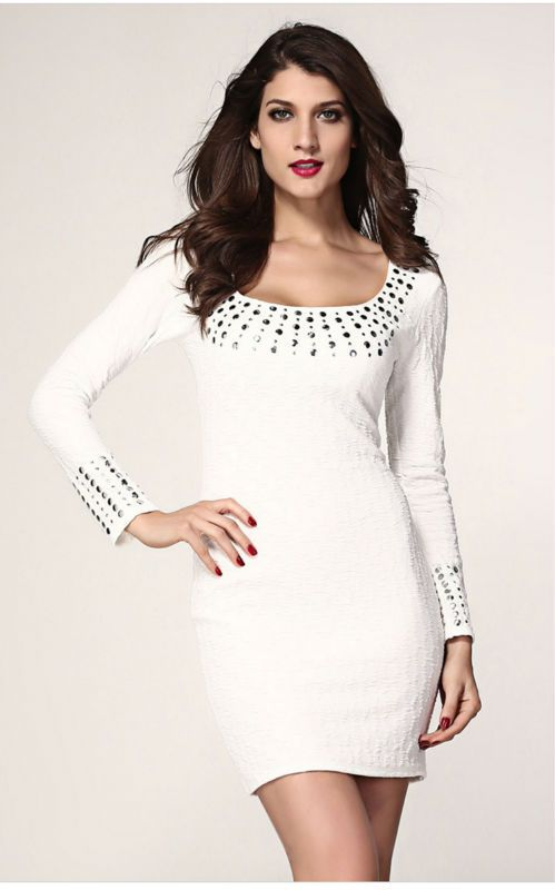 Women Dress Sexy White Pleated Studded Long Sleeves Dress S M L XL Plus Size Party Club Pencil Clothing Freeshipping