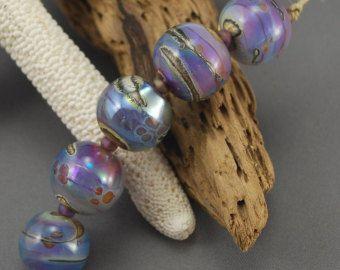 OCEAN GEMS, set of 5 silver glass round beads