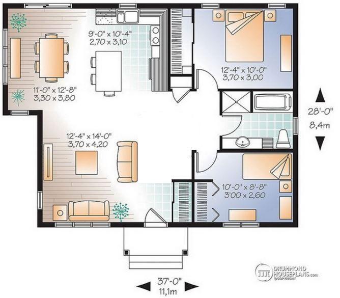 Plano de casa de 8 x 11 m planos de casas modernas for Diseno de casa de 9 x 12