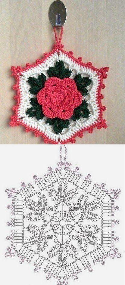 Pot holder crochet motif | Crochet | Pinterest | Häkeln