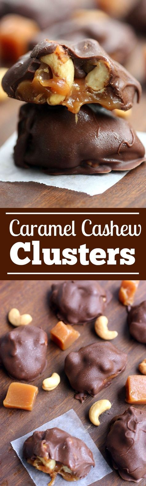 Caramel Cashew Clusters - only three ingredients - via My Recipe Magic