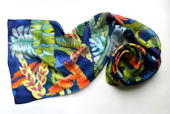 Tropical Silk scarf with flowers. Navy and sea blue , emerald green, coral and orange colors.Ready to ship.. $95.00, via Etsy.