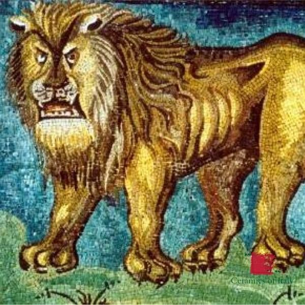 A Big Golden Mosaic Of A Lion The Symbol Of Strk In San Vitale