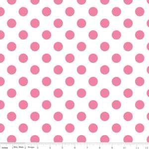 Riley Blake Designs Dots Medium Dots In Hot Pink On White Laminated Cotton Fabric Riley Blake Fabric Riley Blake Designs