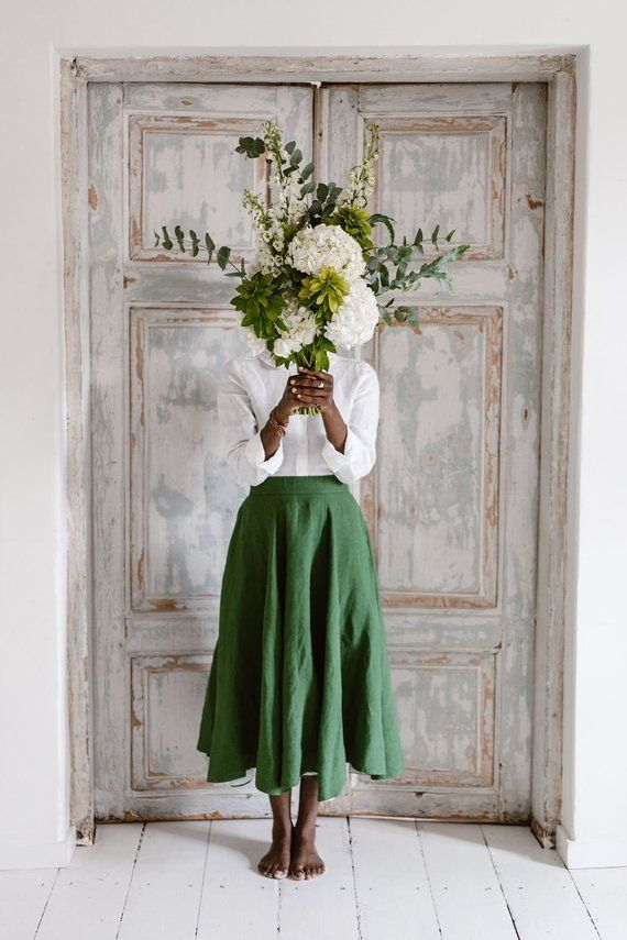 Linen Black Skirt, Loose Skirt, Linen Skirt, Flare Skirt, High Waist Skirt, Elegant Skirt, Midi Skir