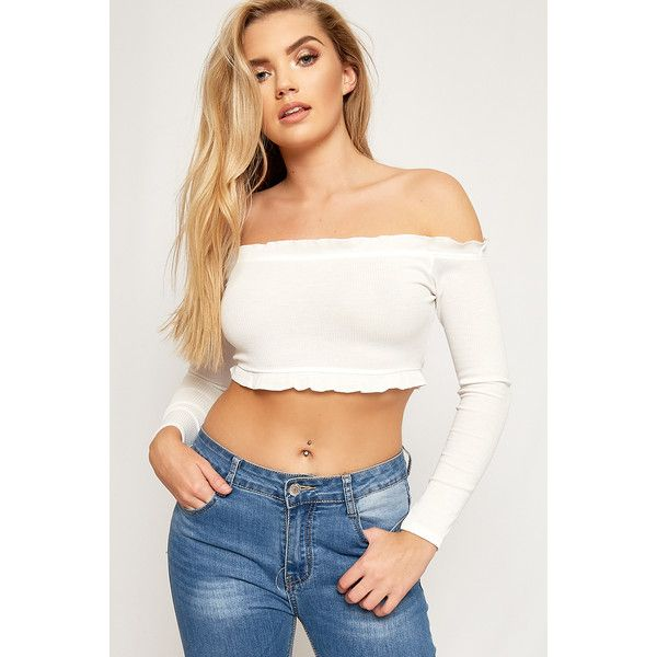 c7b151320a3 WearAll Ribbed Ruffle Long Sleeve Bardot Crop Top ($20) ❤ liked on Polyvore  featuring
