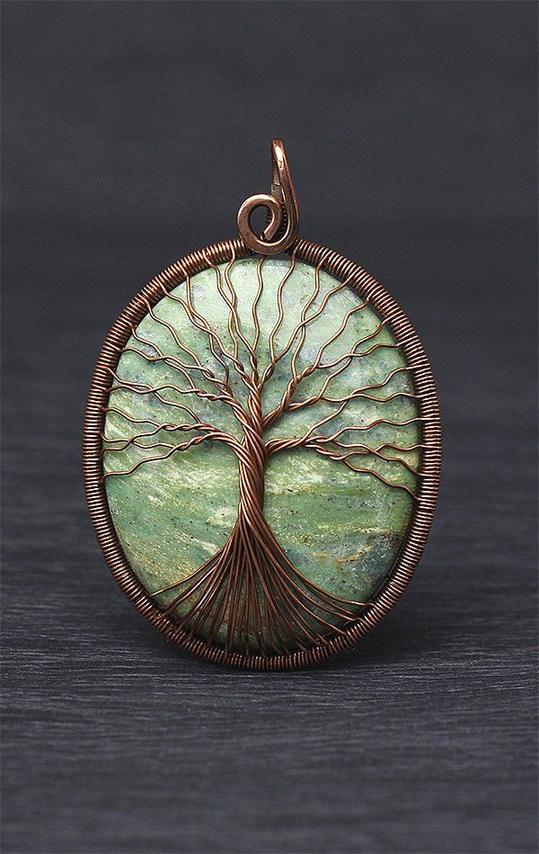 Photo of Kyanite Tree-of-Life Necklace Pendant Healing Stone Jewelry Protection Amulet Copper Wire Wrap Stones Wire Wrapped Necklace Wire Family Tree