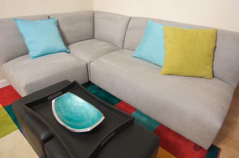 Aqua and brown home decorating ideas suede couch