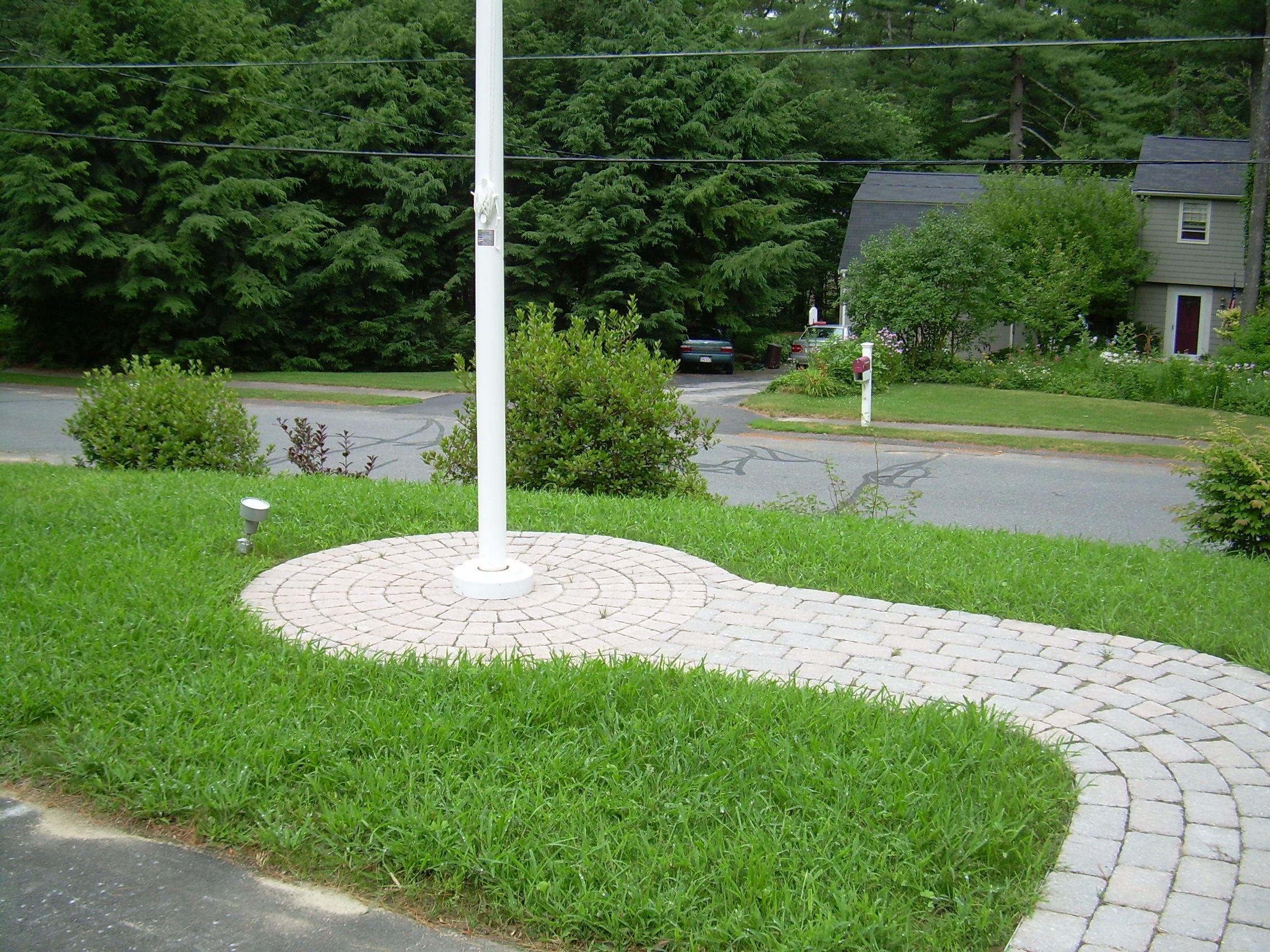 Brick Wail To Flag Pole Flag Pole Landscaping
