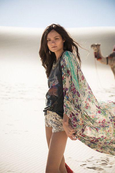 Gypsy Queen Maxi Kimono - Cream Floral