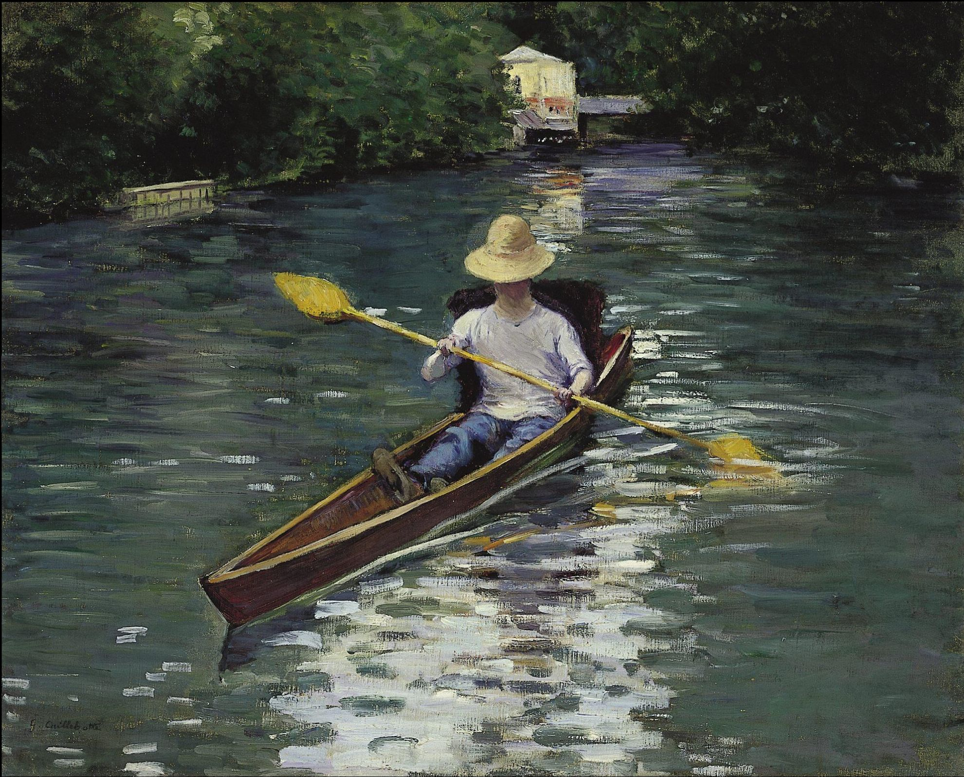 Canoe on the yerres river by gustave caillebotte painted in 1878 impressionism