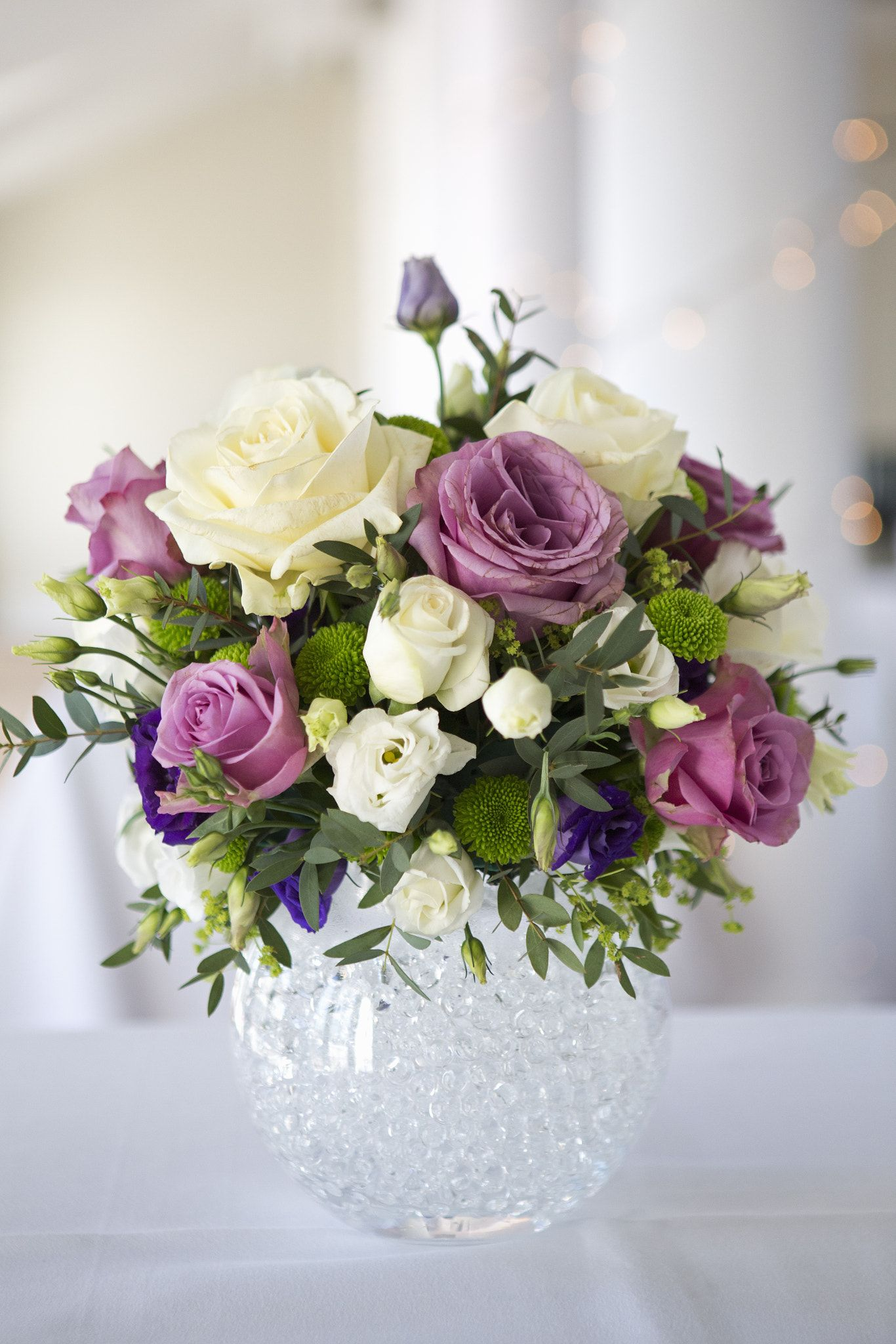 Arrangement Of White Pink And Purple Wedding Flowers Arrangement