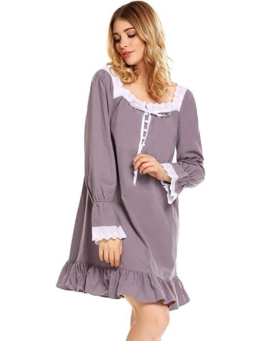 Avidlove Womens Cotton Victorian Nightgowns Romantic Long Bell ...