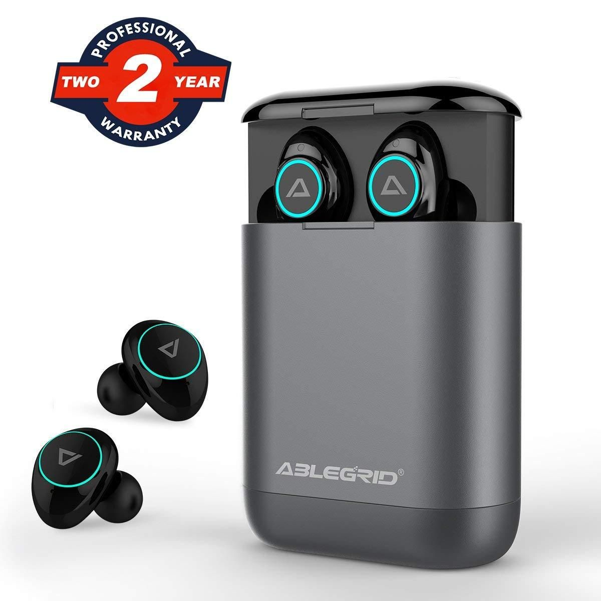 a32e4d46911 [Bluetooth 5.0 & IP7 Waterproof], ABLEGRID NEWEST Bluetooth 5.0 TWS True  Wireless Headphones Earbuds Headset Dual Mic with Charging Box