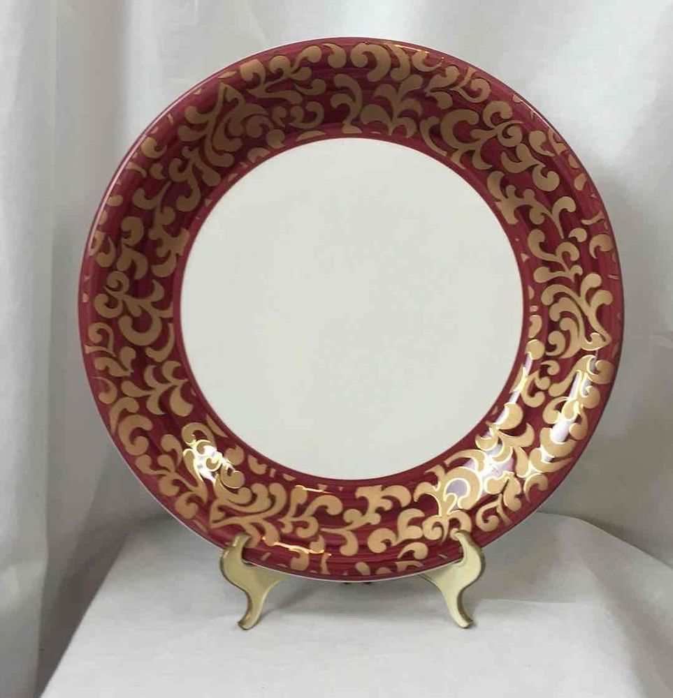 Decorative Dinner Plates Fgiorgiceramica Jarm Made In Italy Lg Dinner Plate Red Gold