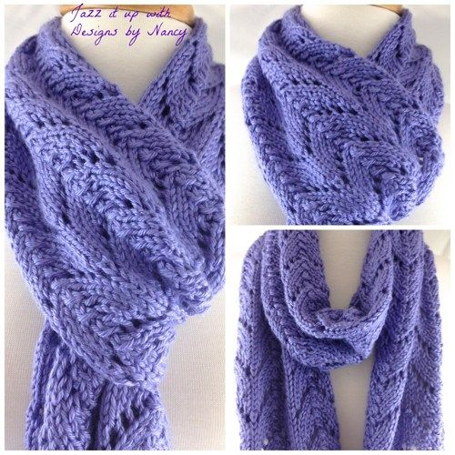 Just Listed Lacy Lavender Blue Hand Knit Long Scarf Caron Simply