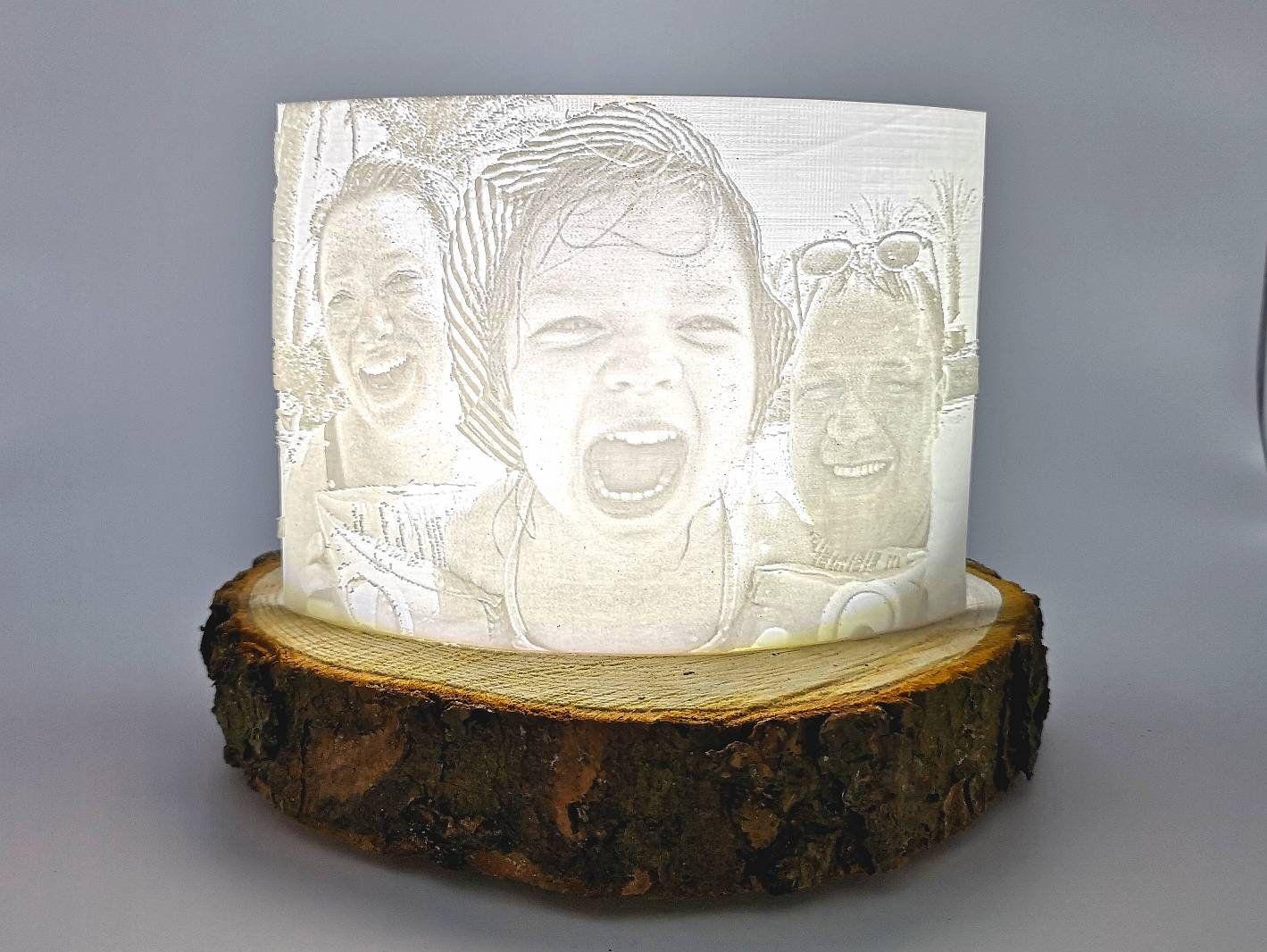 3d Foto Lithophanie Mit Baumscheibe Und Lampe Decor Vase Home Decor