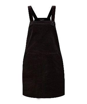 Black Cord Pinafore Dungaree Dress   New Look