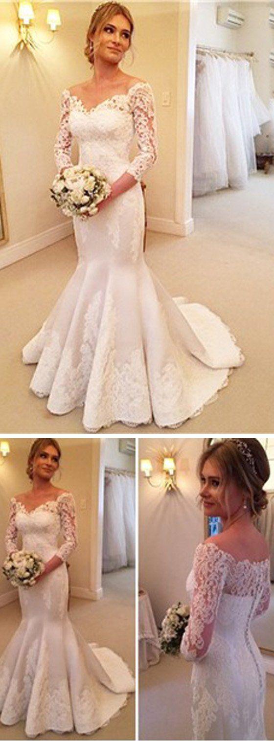 Popular off shoulder long sleeve mermaid white satin lace wedding