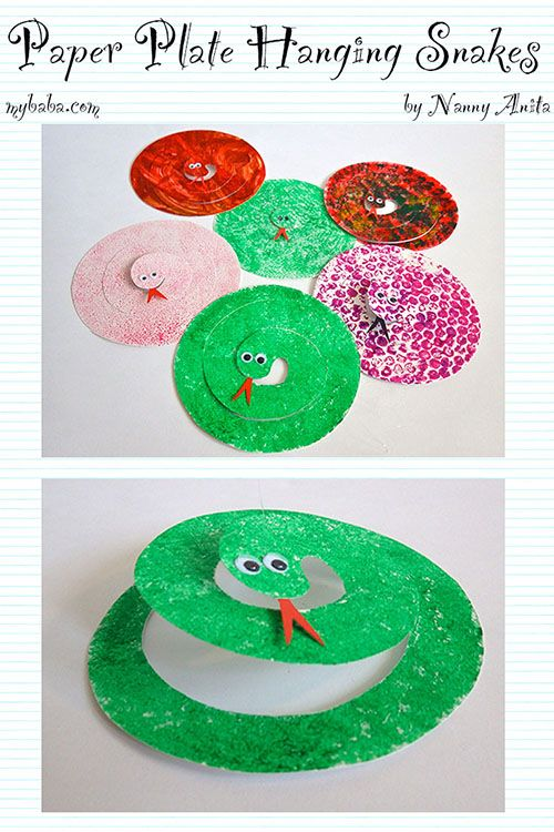 Paper Plate Snakes #animalcrafts