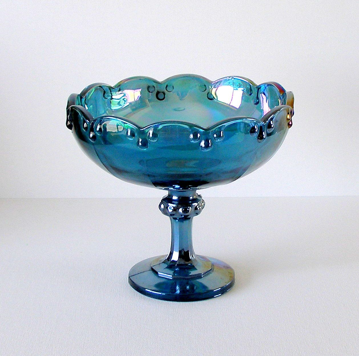 Vintage blue carnival glass pedestal bowlcompote teardrop pattern vintage blue carnival glass pedestal bowlcompote teardrop pattern reviewsmspy