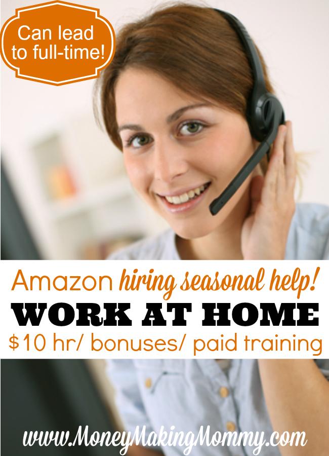 Amazon Seasonal Work From Home 10 Hour Bonuses Home Jobs Work From Home Moms Work From Home Jobs