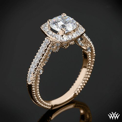 Rose Gold Verragio Beaded Halo Diamond Engagement Ring from the Verragio Insignia Collection.