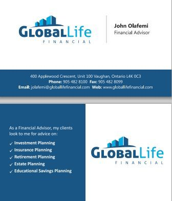 Business card design concept for global life financial a financial business card design concept for global life financial a financial services company in vaughan ontario front back are shown part of the danipa colourmoves