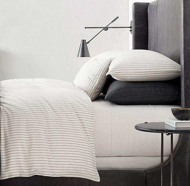 Soft Cotton Pinstripe Duvet Cover Bedrooms Home