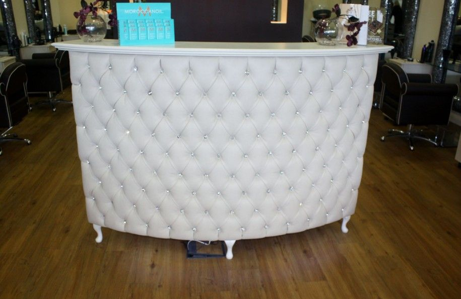 Desks Curved Padded Front Reception Desk White Nappa