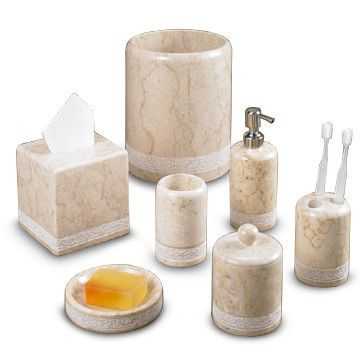 Champagne Marble Bath Accessories in Spa Hand Carved Collection ...