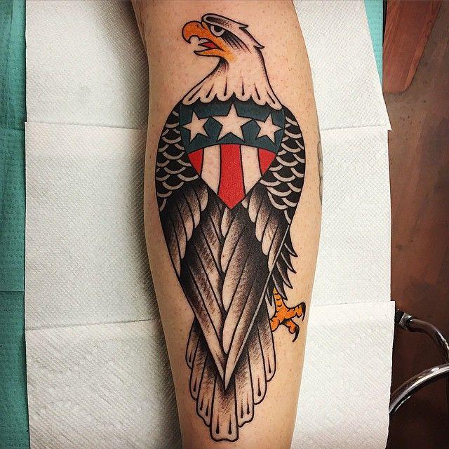American Traditional Skull And Eagle: Eagle Tattoos, Calf Tattoo