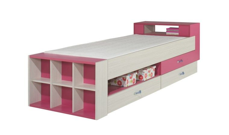 Lit Enfant Ado Rose Avec Rangements Vera Avec Images Rangement Salle De Bain Lit Rangement Mobilier De Salon