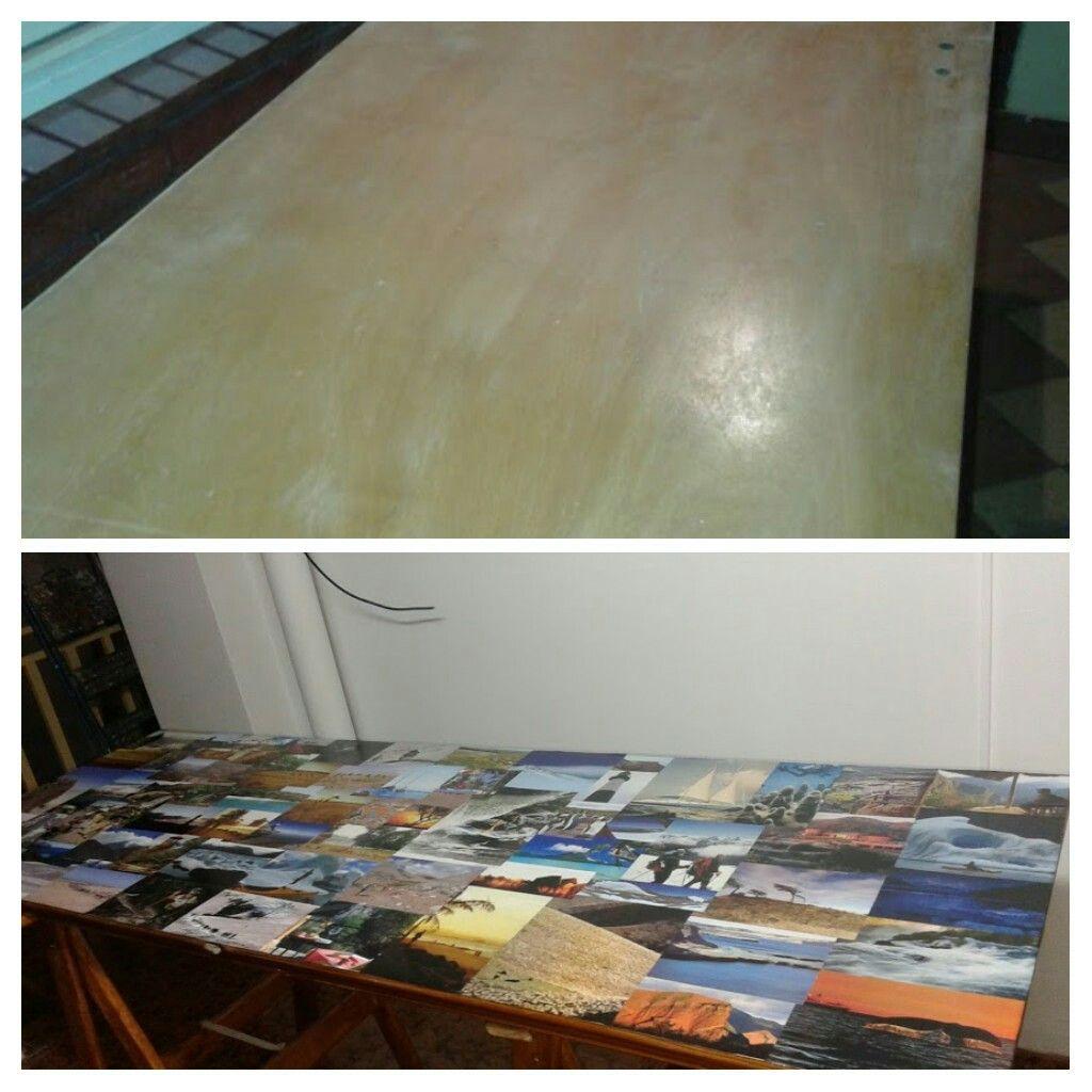 Puerta transformada en mesa con imágenes de revistas