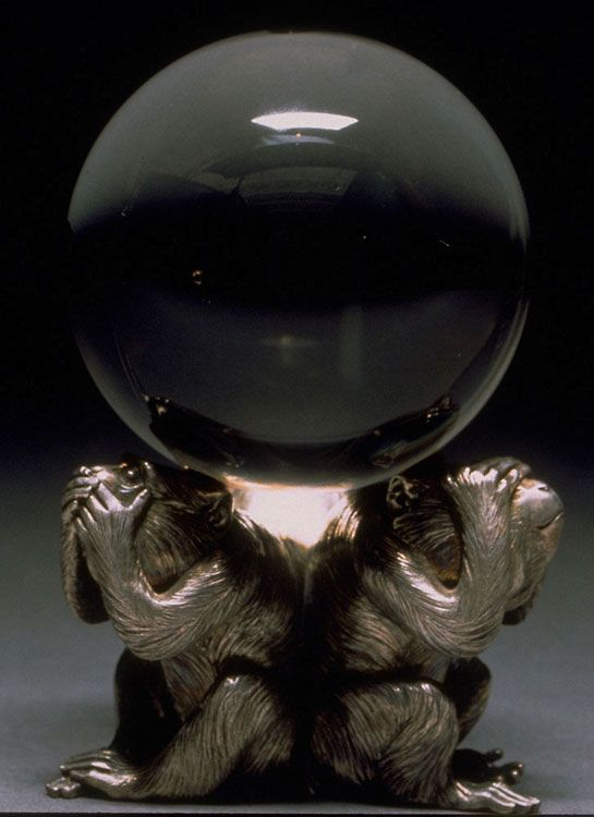 Crystal Ball on Silver Stand/ rock crystal -18thC Japan