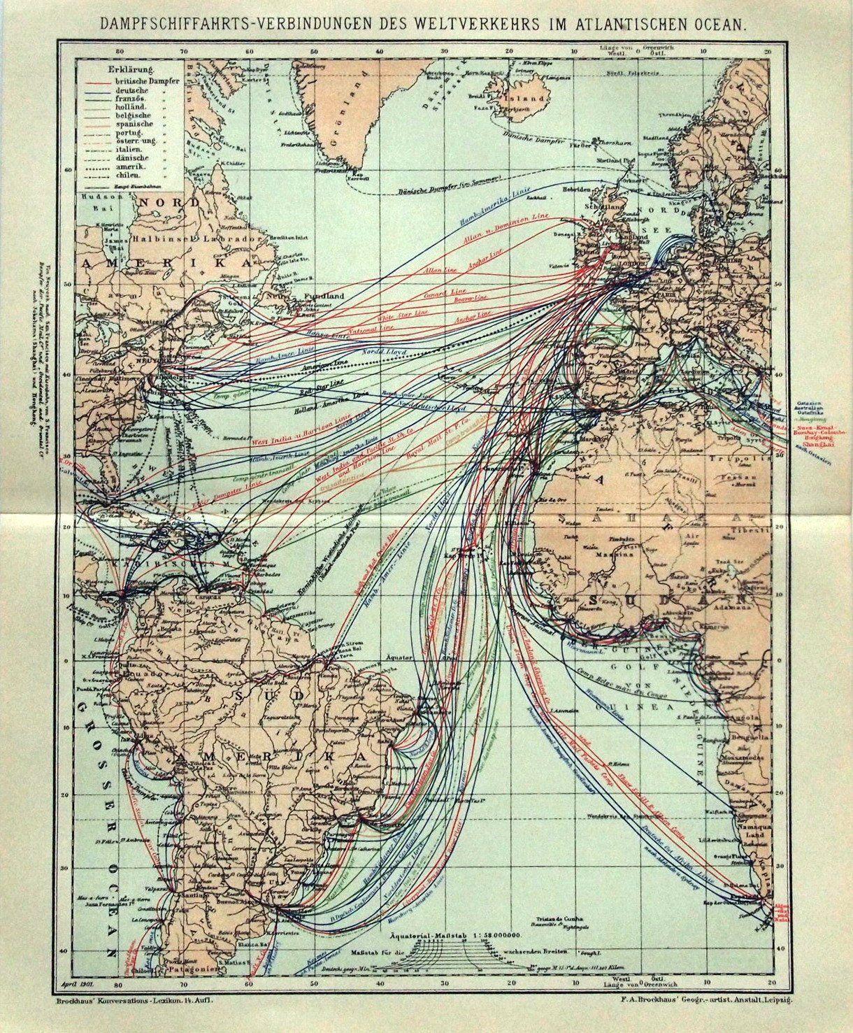 Un Mapa Aleman De 1895 Con Las Rutas Maritimas De Barcos A Vapor