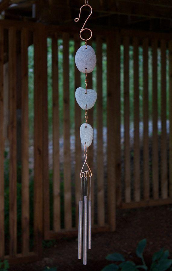 Carillon de vent Pierre de plage naturelle, Windchime, carillons éoliens, carillons éoliens, Handcrafted carillons