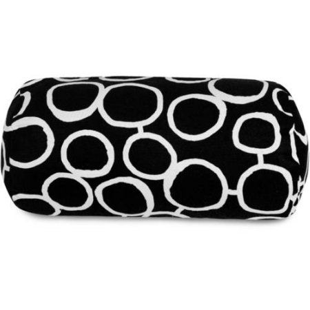 Majestic Home Goods Fusion Round Bolster Decorative Pillow, 18.5 inch x 8 inch, Black