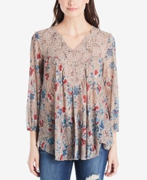 97464b51b5443e Vintage America Printed Lace-Trimmed Top - Gold XS | Products in ...